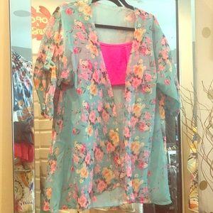 Other - Aqua Floral sheer Kimono